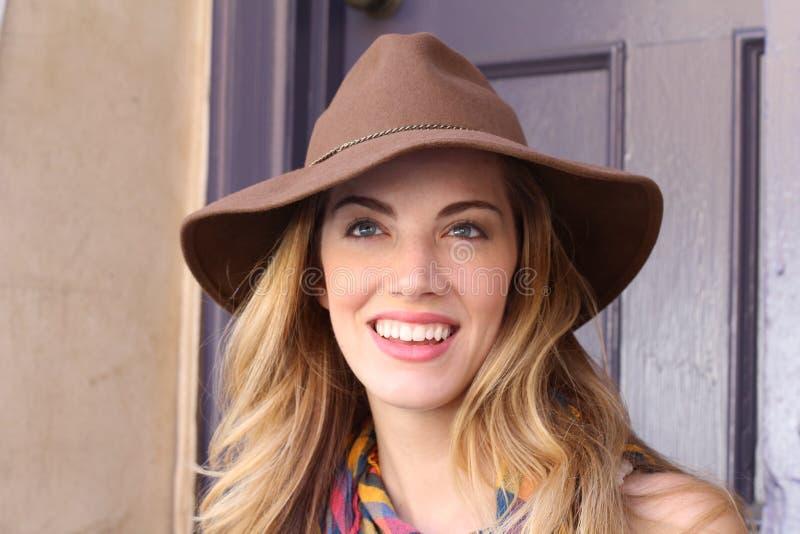 Beautiful woman wearing hat royalty free stock photo