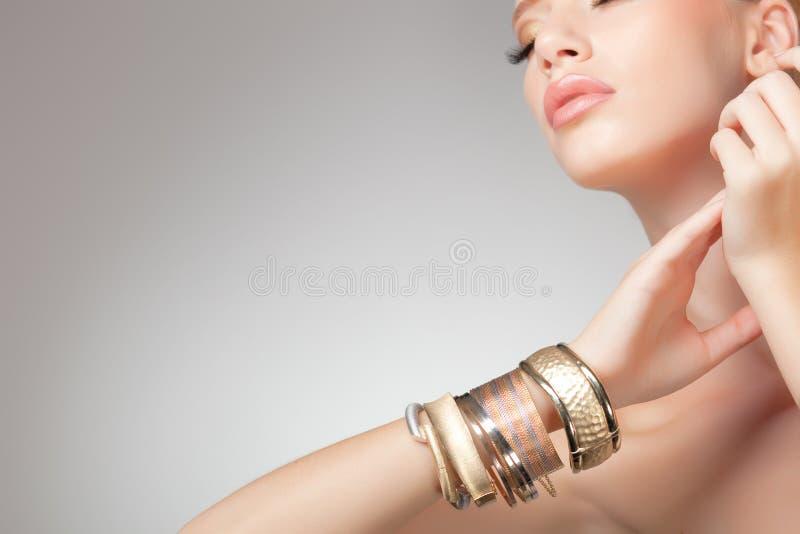 Beautiful woman wearing jewelry, clean image royalty free stock image