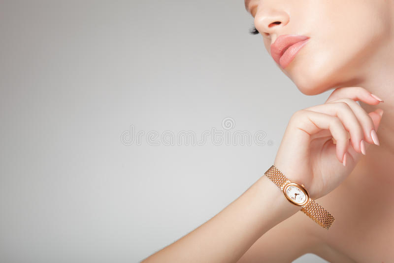 Beautiful woman wearing jewelry, clean image royalty free stock images