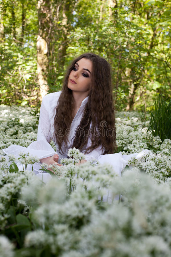 Beautiful woman wearing a long white dress sitting in a forest stock image