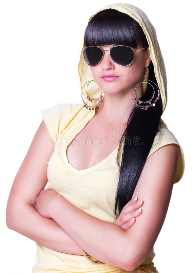Beautiful woman wearing sunglasses royalty free stock images