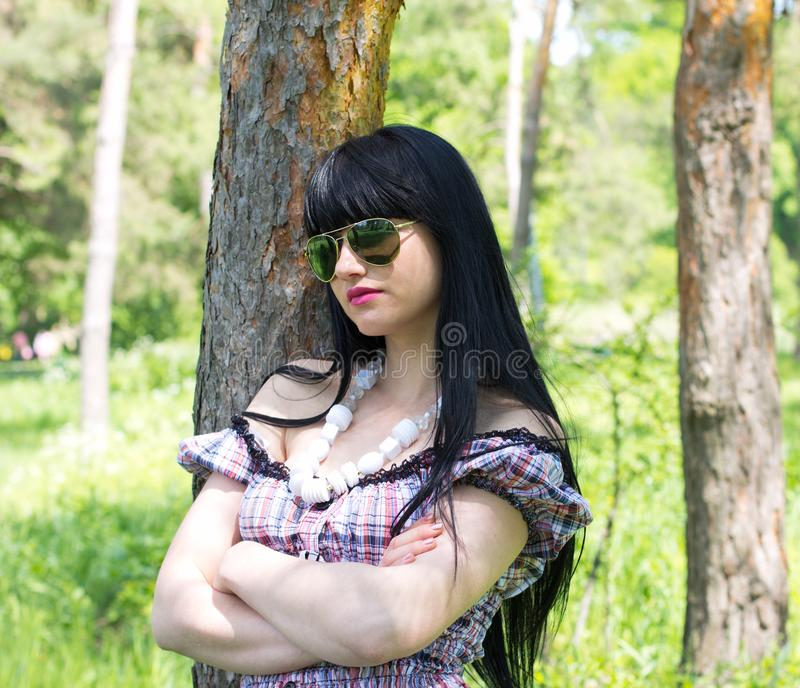 Beautiful woman wearing sunglasses stock images