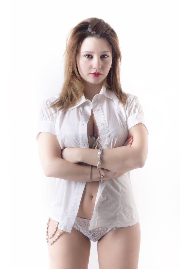 Download Beautiful Woman Wearing Unbuttoned Shirt Stock Photo - Image of sensual, confidence: 39508524