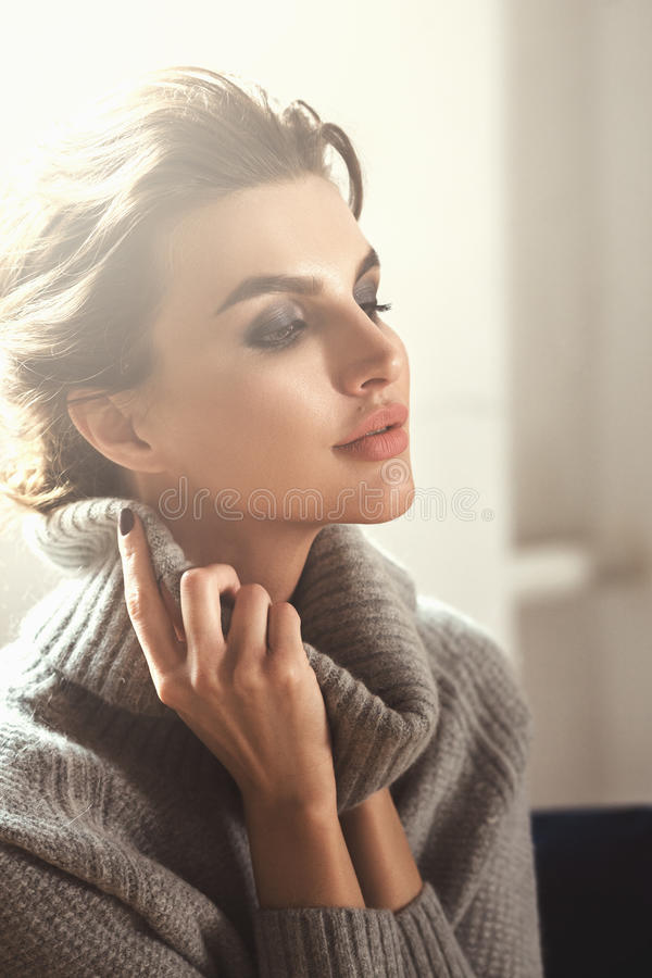 Beautiful Woman Wearing In Warm Wool Sweater stock photography
