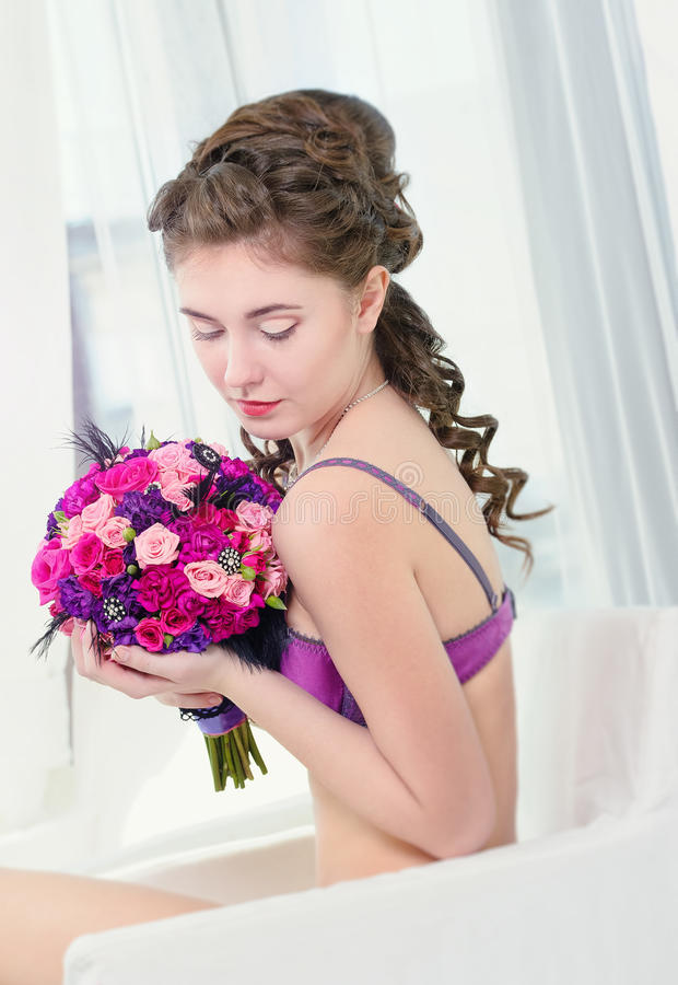 Download Woman With Bouquet Of Roses Stock Photo - Image: 30217832