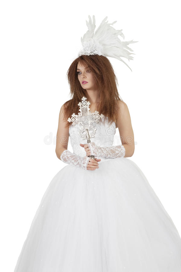 Download Beautiful Woman In Wedding Dress Holding Crucifix Over White Background Stock Images - Image: 29673194
