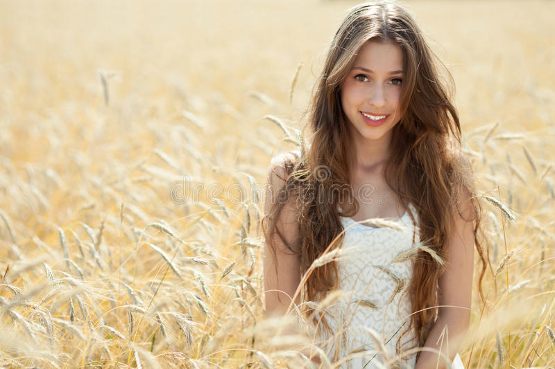 Download Beautiful Woman In The Wheat Field Stock Image - Image: 25693715
