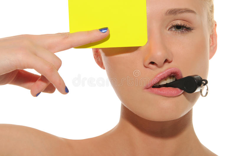 Download Beautiful Woman With Whistle And Yellow Card Stock Photo - Image: 22031360