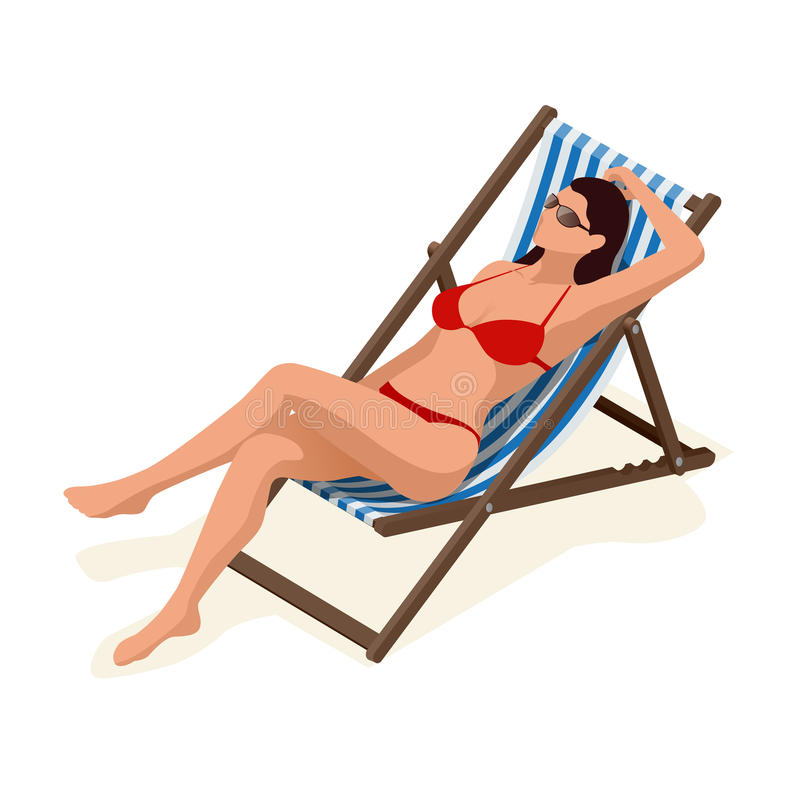 Beautiful woman in white bikini lying on a sun lounger sunbathing in the sunshine.Relaxation holiday, sunbathing and royalty free illustration