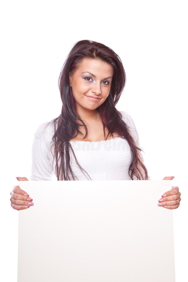 Download Beautiful Woman With White Board Stock Image - Image of card, model: 8779843