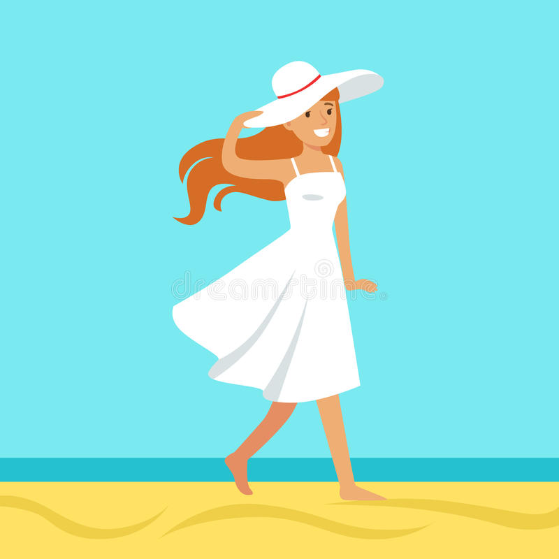 Beautiful woman in a white dress and beach hat against a bright blue sky and sea on a holiday beach. Colorful vector Illustration vector illustration