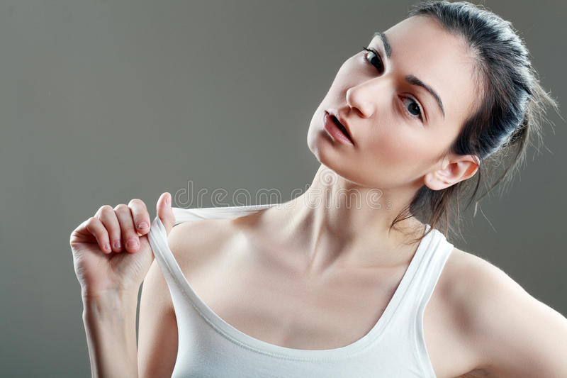 Beautiful woman in white top royalty free stock photos