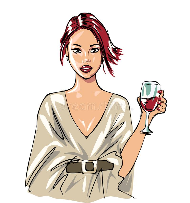 Beautiful woman and wine, wine glass and pretty girl, girl drinking wine, wine, beverage, glass, celebration, greeting, illustrati stock illustration