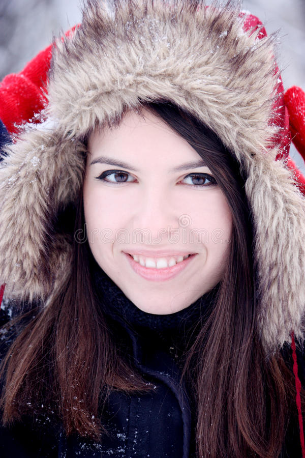 Beautiful woman in winter stock photography