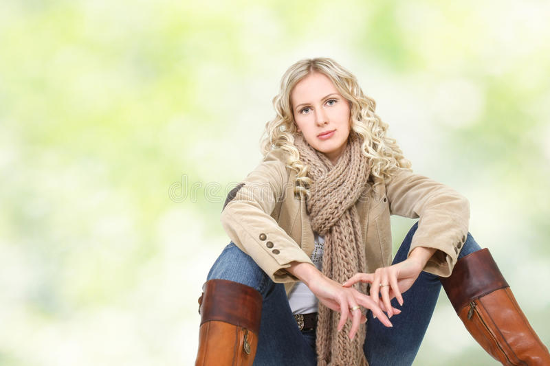 Beautiful woman in winter clothes stock photography