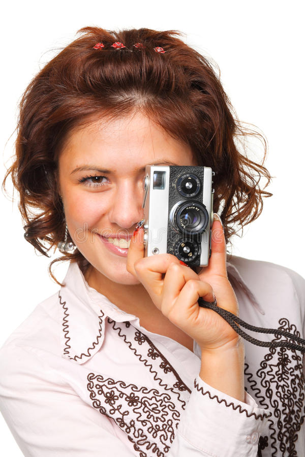 Free Beautiful Woman With A Camera Royalty Free Stock Images - 10835619