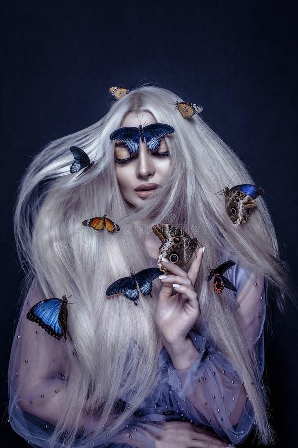 Free Beautiful Woman With Butterflies Portrait Portrait Beauty Portrait Photoshoot Stock Image - 204630251