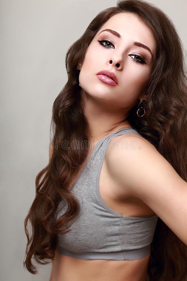 Free Beautiful Woman With Long Curly Hair Looking Royalty Free Stock Image - 40086576