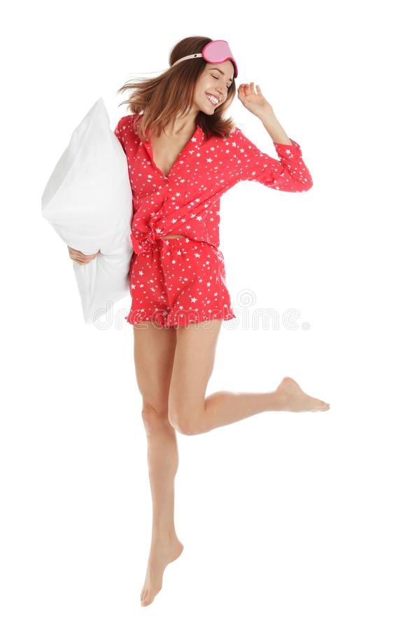 Free Beautiful Woman With Sleep Mask Jumping On Background. Bedtime Stock Images - 167714364