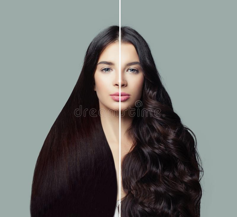 Free Beautiful Woman With Straight And Curly Hairstyle. Hair Styling And Hair Care Concept Stock Photo - 135995860