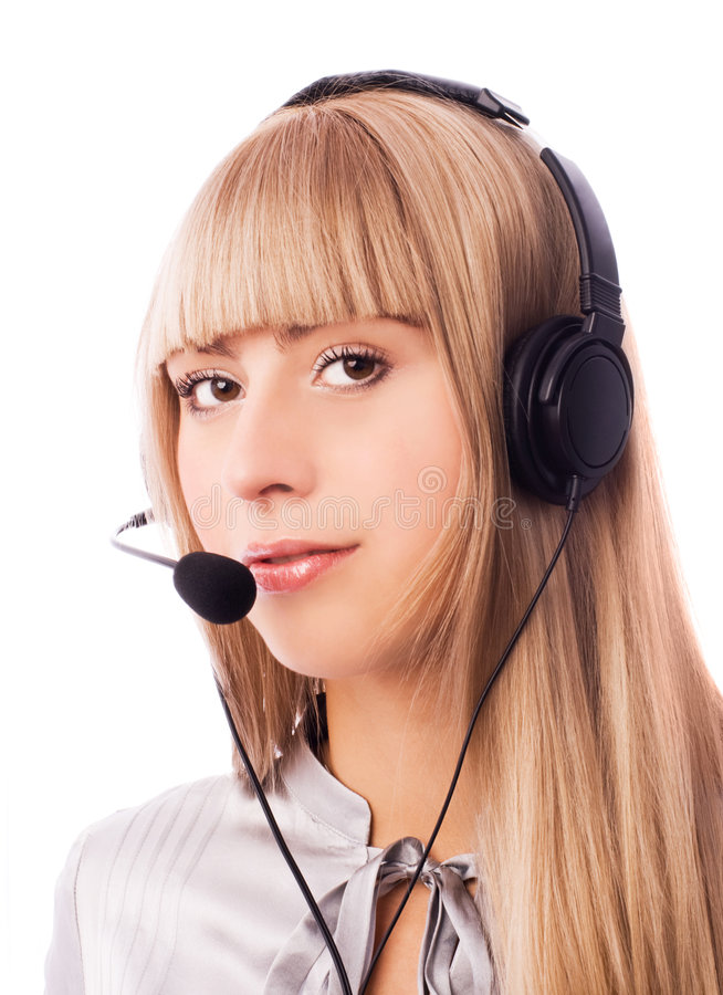 Download Beautiful Woman Working In The Call-center Stock Image - Image: 7146159
