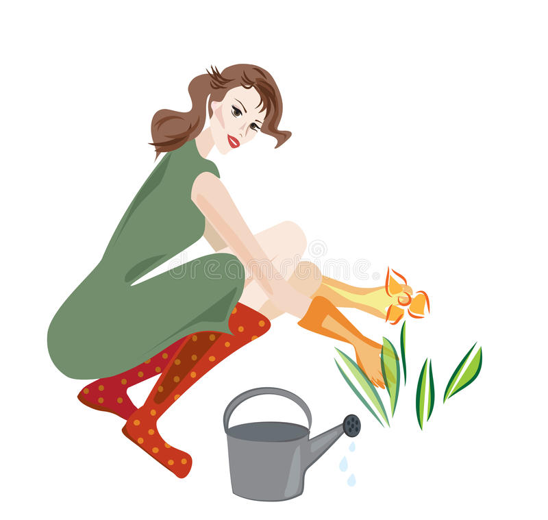 Beautiful Woman Working in Garden stock illustration