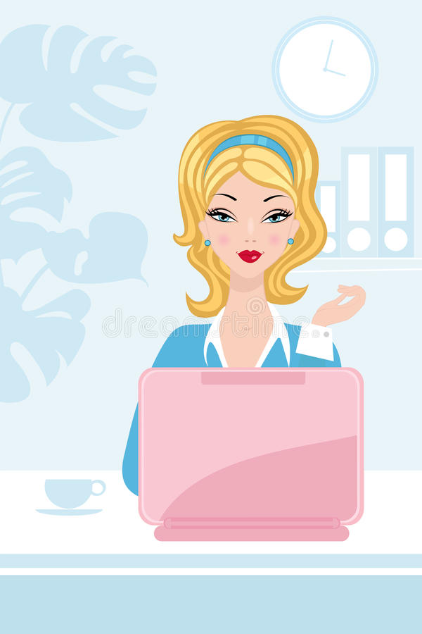 Download Beautiful Woman Working In The Office Stock Vector - Image: 25744928