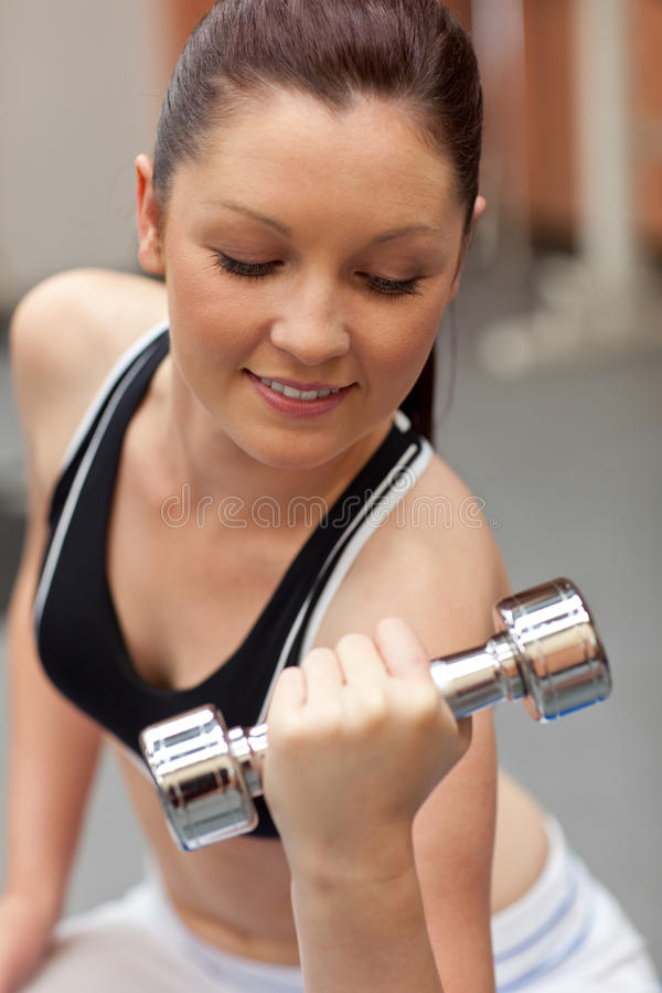 Download Beautiful Woman Working Out With Dumbbells Stock Image - Image of lifting, close: 15971115