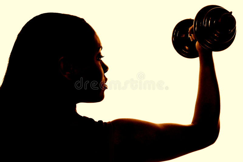 Beautiful Woman Working Out With Dumbell stock images