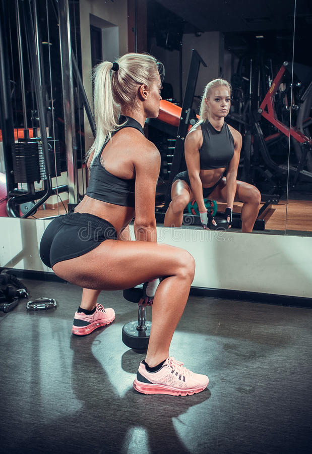 Free Beautiful Woman Working Out With A Dumbbells Stock Image - 45781871