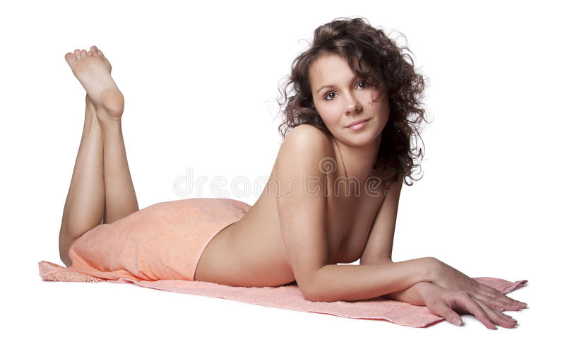 Beautiful woman wrapped a towel royalty free stock images