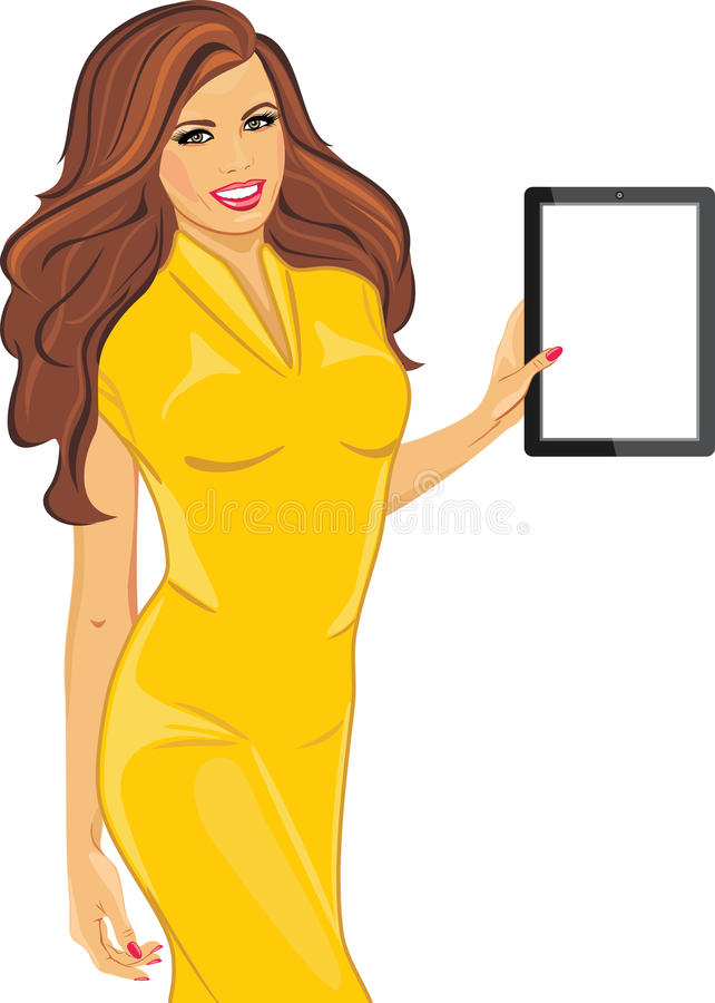 Beautiful woman in a yellow dress is holding an ipad. Illustration stock illustration
