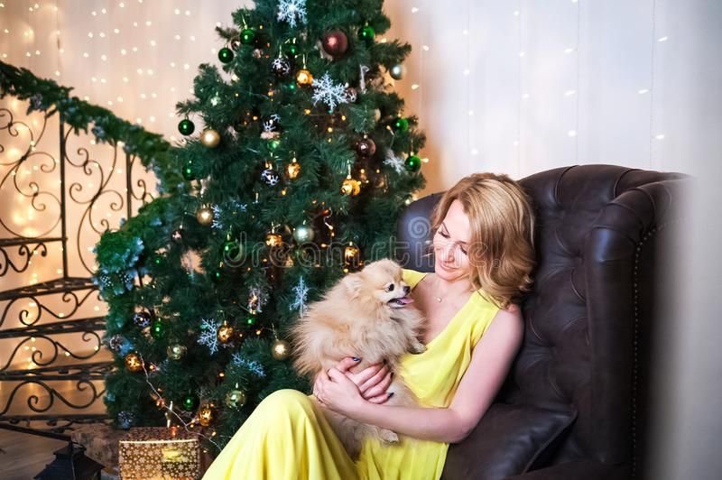 Beautiful woman in a yellow long dress with a dog in her arms in the living room with a leather chair and a spiral staircase. A gi. Rl sits and dreams in a royalty free stock image