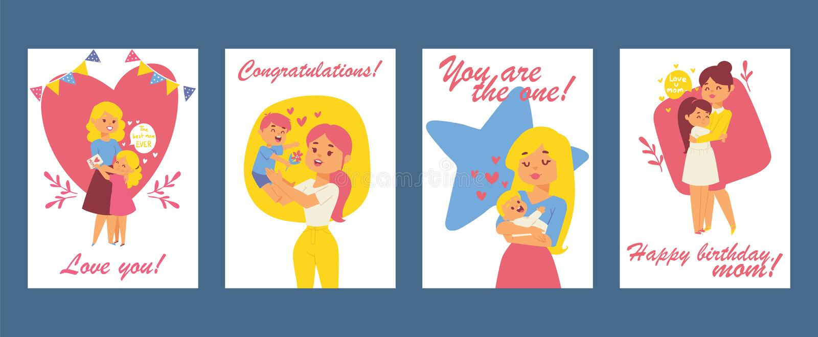 Beautiful women with children. Happy mothers day card. Happy birthday greeting card. Vector illustration with mom and vector illustration