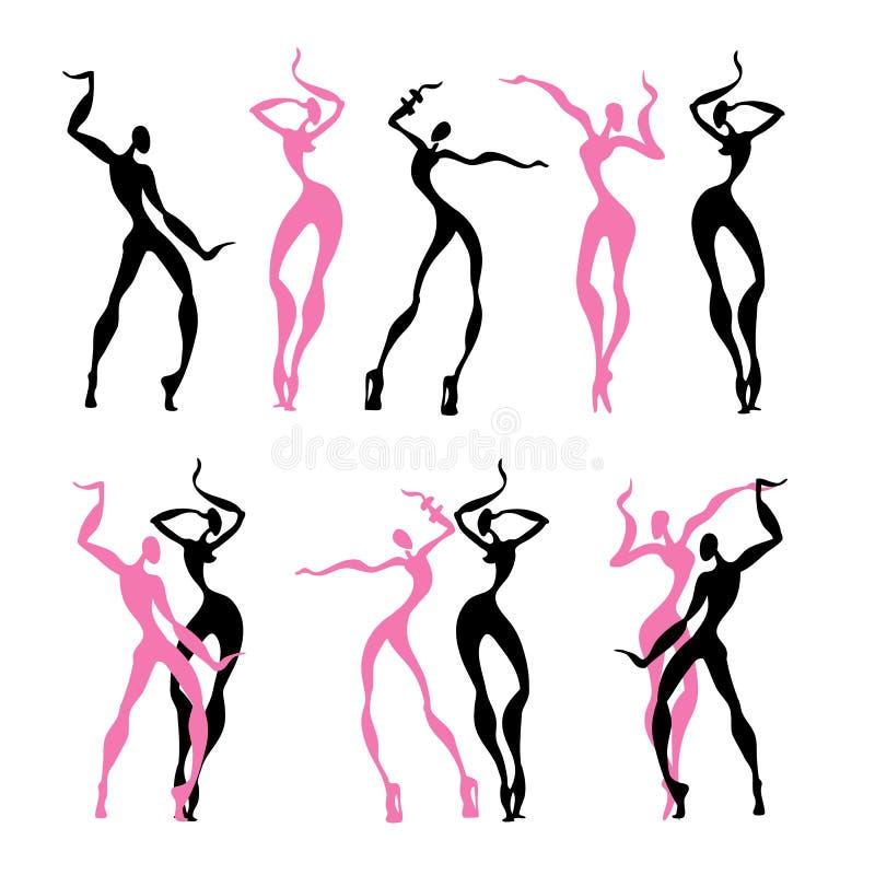 Beautiful women. Dancing silhouettes. royalty free illustration