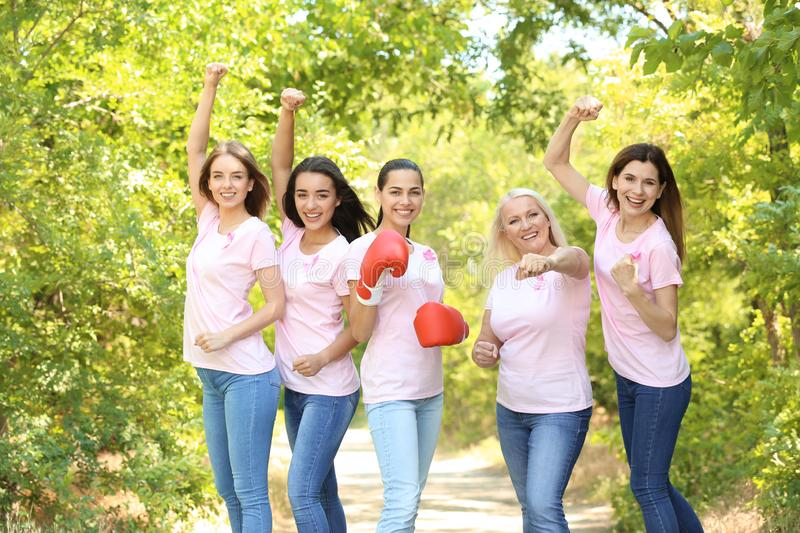 Beautiful women of different ages with pink ribbons outdoors. Breast cancer concept royalty free stock photos