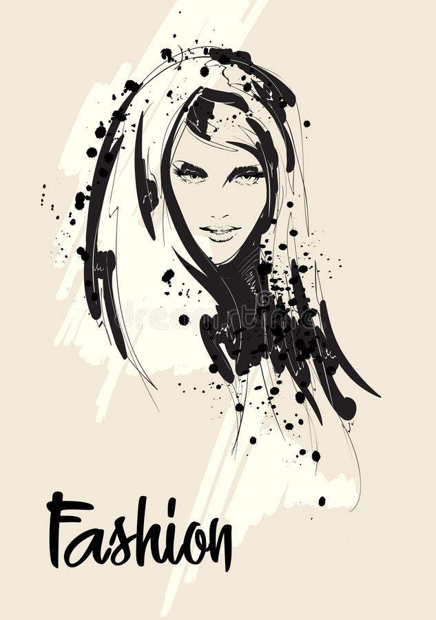 Beautiful Women face. Fashion Girls vector portrait. Young grl face royalty free illustration
