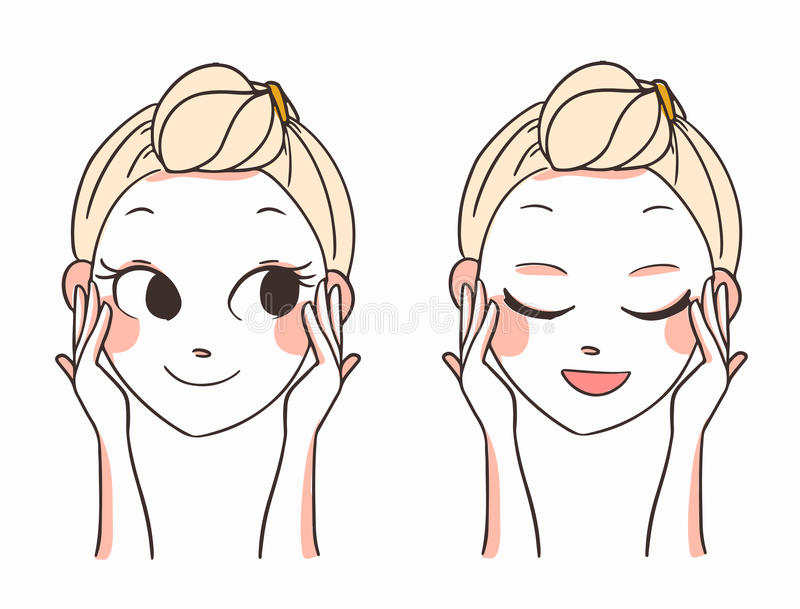 Beautiful women face hands.skin care.vector illustration. Beautiful women's face and hands.skin care.vector illustration
