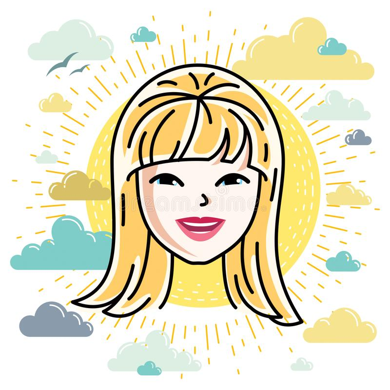 Beautiful women face, human head. Vector character, attractive blonde lady face features. Beautiful women face, human head. Vector character, attractive blonde royalty free illustration