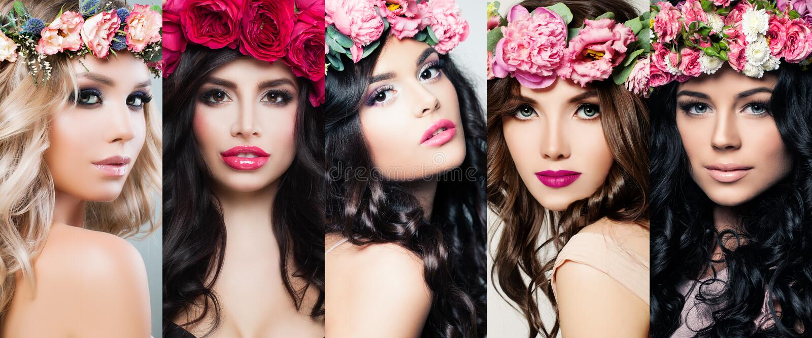 Beautiful women face set. Colorful flowers, makeup and long curly hair. Blossoms beauty bright colorful portraits stock images