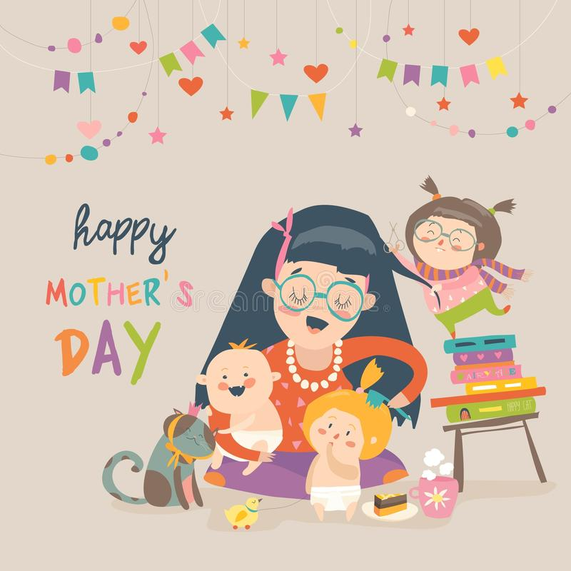 Happy mother with her children vector illustration