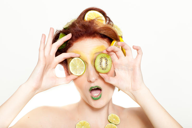 Download Beautiful Women With Lime And Kiwi Stock Image - Image of food, fresh: 24302831