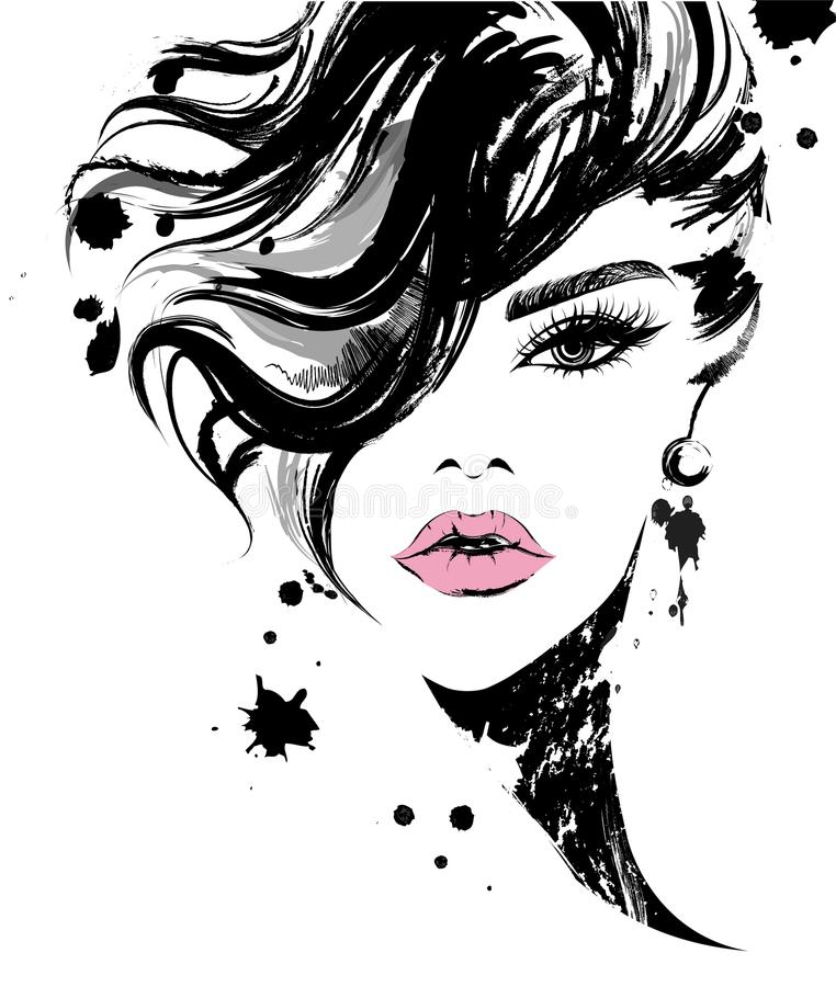 Beautiful women, logo women face makeup on white background, vector. Illustration of beautiful women, logo women face makeup on white background, vector royalty free illustration