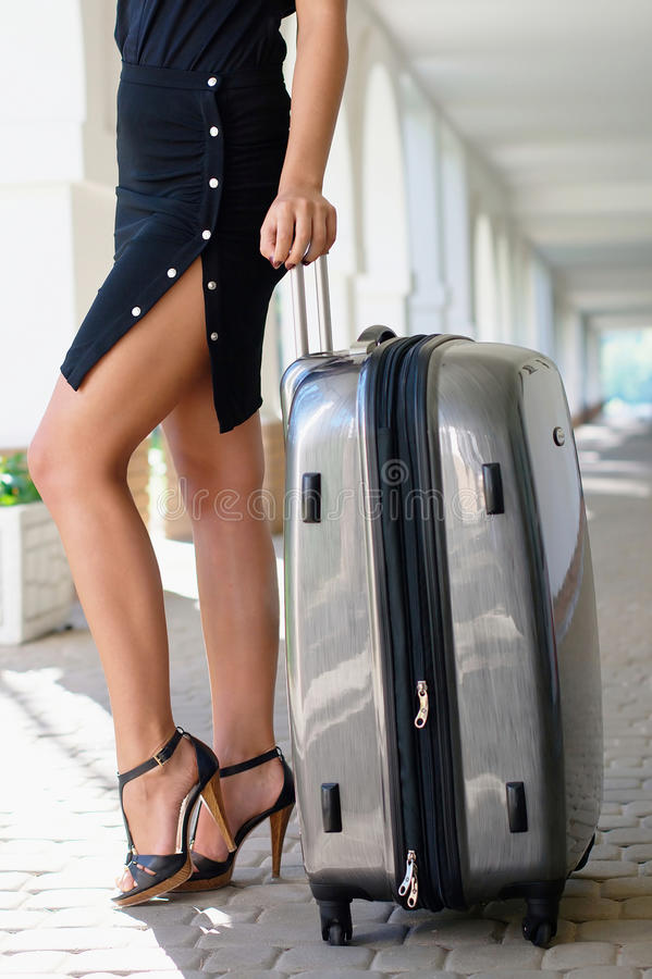 Download Beautiful Women With Luggage Outdoors Stock Image - Image of long, relaxation: 20934889