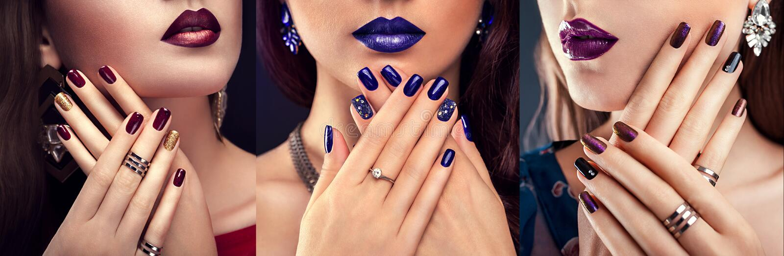 Beautiful woman with perfect make-up and blue manicure wearing jewellery. Beauty and fashion concept. Beautiful women with perfect make-up and blue manicure stock image