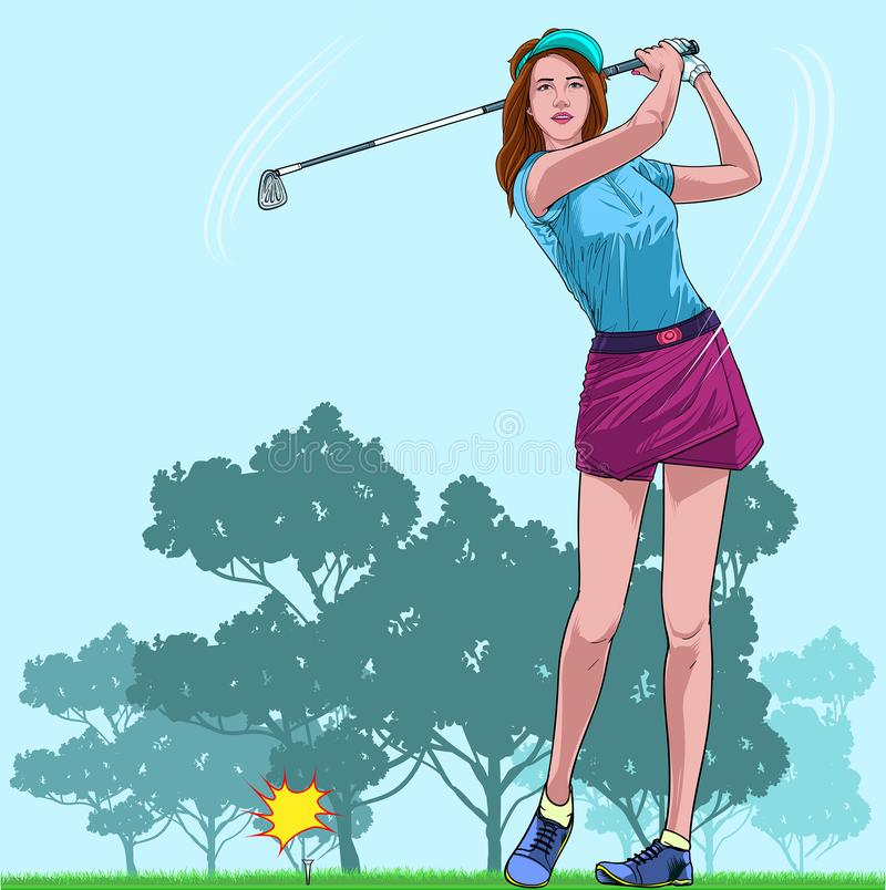 Beautiful women playing golf on vacation Illustration vector On pop art comic style Natural colorful background royalty free illustration