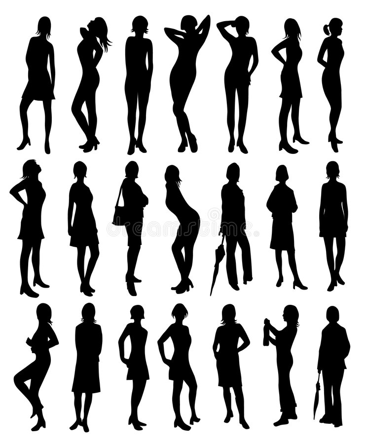 Beautiful women silhouettes royalty free illustration