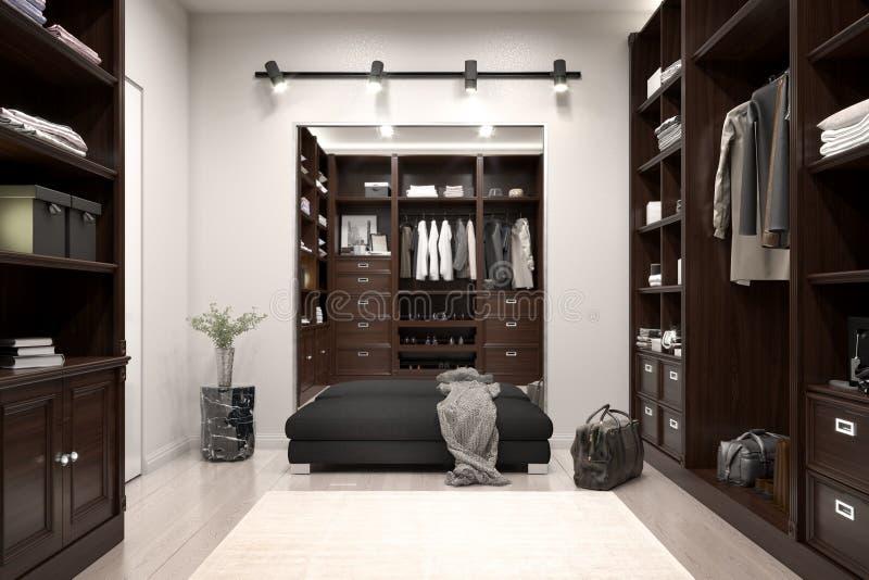 Beautiful wood horizontal wardrobe and walk in closet royalty free illustration