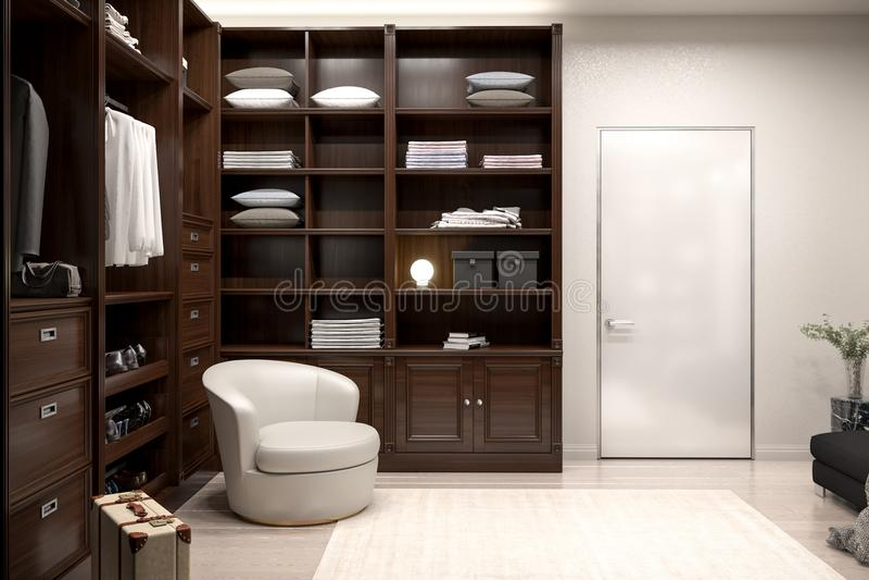 Beautiful wood horizontal wardrobe and walk in closet stock images