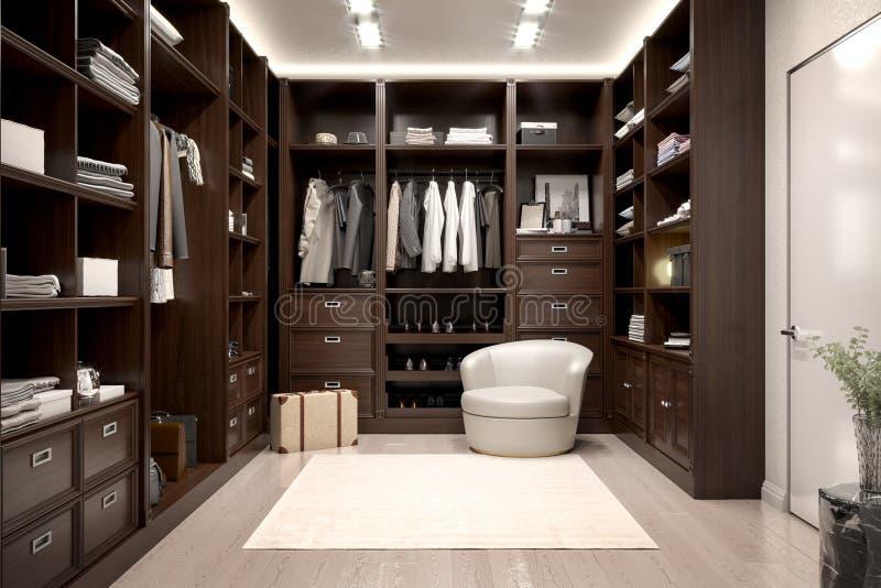 Beautiful wood horizontal wardrobe and walk in closet. royalty free illustration